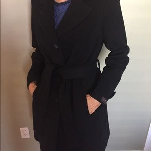 Anne Klein Black Wool Cashmere Blend Pea Coat